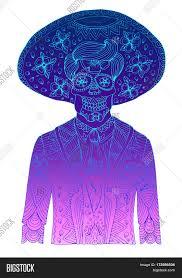 halloween background sugar skulls hand drawn line man with sugar skull calavera makeup with