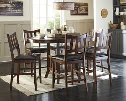 Oval Dining Table Set For 6 Renaburg Medium Brown Oval Counter Extendable Dining Table From
