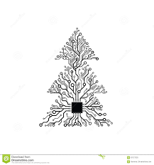 vector simple electronic tree stock vector illustration of