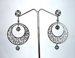 metal earings black metal thin filigree work earrings for women