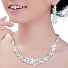 wedding jewelry 2018 bridal jewelry set silver plated necklace diamond