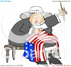 clipart illustration of betsy ross sitting on a stool and sewing