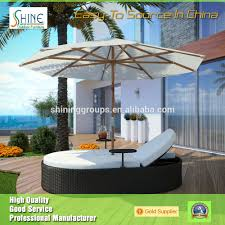 Good Rattan Specification Ct201440 Outdoor Rattan Furniture Beach Double Parasol Sunbed