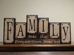 Family Wood Sign Home Decor Name Blocks Custom Living Room Decor Family Name Blocks