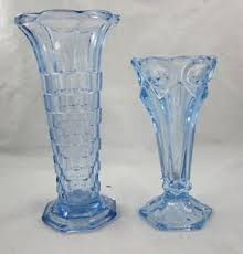 2 vintage blue glass vase centerpieces geometric scalloped