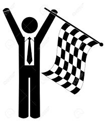 Finish Line Flag Business Man Or Figure Waving Checkered Flag Winner Royalty Free
