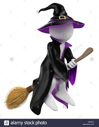 halloween witch background 3d white people halloween witch flying on her broomstick