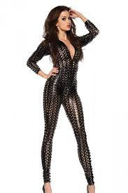 leather jumpsuit black womens look cut out pu leather catsuit zipped