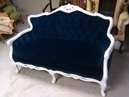 blue velvet loveseat navy blue white frame sofa settee couch