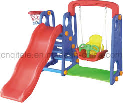 exterior red fiber sliding toy with blue fiber ladder and red