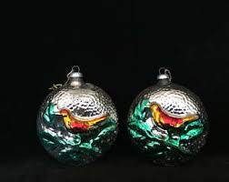 glass bird ornament etsy