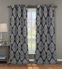 single jules black print window curtain panel w grommets