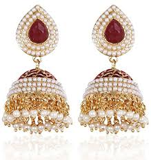 fancy jhumka earrings youbella jewellery pearl studded fancy party wear jhumki jhumka
