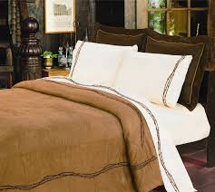 Western Duvet Covers Embroidered Barbwire Bedding Set 2 Colors Santa Fe Ranch