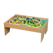 wooden train set table amazon com battat all aboard wooden train table toys games