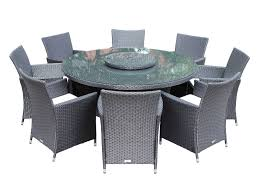 maze rattan la grey 8 chair round dining set garden furniture