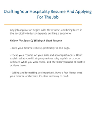 Hospitality Resume How To Get Hired In Hospitality Ppt Download