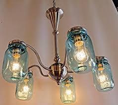 5 Jar Chandelier Jar Lighting 5 Light Brushed Nickel Chandelier With Blue