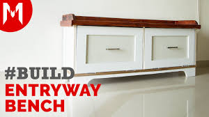entryway bench with storage build youtube