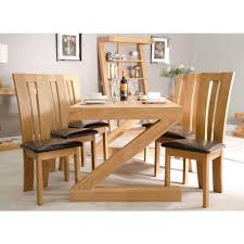 z solid oak designer large 6 seater dining table with chairs