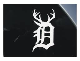 old english d with antlers vinyl window decal sticker