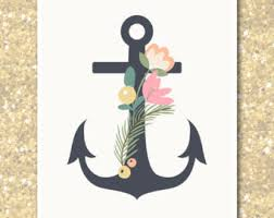 floral anchor print etsy