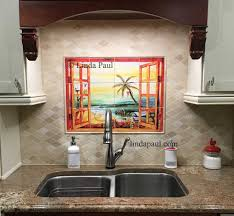 Tile Kitchen Backsplashes Florida Tile Mural Backsplash Tiles Palm Tree Art Tiles Intended