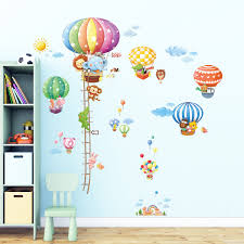 animal hot air balloons and height chart wall stickers 1606p1406b animal hot air balloons height chart wall stickers