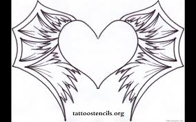 of hearts with wings coloring page free download