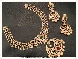 necklace sets designs images Designer 1 gram gold necklace sets with earrings south india jewels jpg