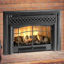 living room striking gas fireplace inserts and faux brick