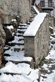 Stone Banister Medieval Stone Steps And Banister Under Snow Stock Photo Colourbox