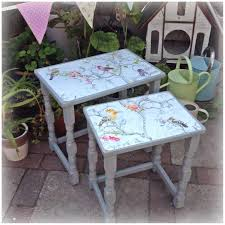 Refurbished End Tables by Nest Of Tables Painted In Chalk Paint With Bird Print Decoupage