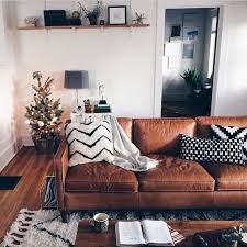 creative of living room with leather couch and best 25 leather
