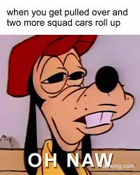 Roll Up Meme - when you get pulled over and two more squad cars roll up goofy