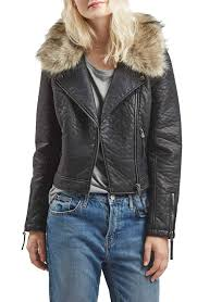 leather moto jacket faux leather moto jacket with removable faux fur collar nordstrom