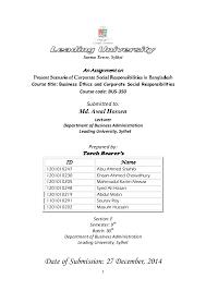 Corporate Social Responsibility Resume Examples by Present Scenario Of Corporate Social Responsibilities In Bangladesh