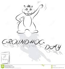 groundhog drawn from the lines and the words groundhog day stock