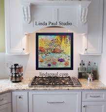 sunflowers kitchen backsplash tile mural by artist linda paul