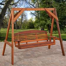 exterior wooden curved porch swing with wooden seat using arm and