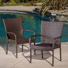 Christopher Knight Patio Furniture Reviews Outdoor Pe Wicker Stackable Club Chairs Set Of 2 By Christopher