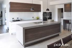 polytec doors and panels in melamine cafe oak caesarstone