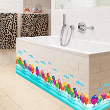 stickers cuisine enfant coloré mignon poissons mer ciel nuage taille ligne peinture mur