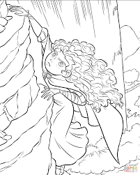 brave merida is climbing the rock coloring page free printable