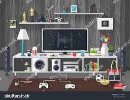 Living Room Tv Set Flat Modern Design Vector Illustration Concept Stock Vector