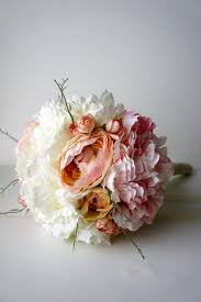 Shabby Chic Bridal Bouquet by Blush Pink And Ivory Peony Bridal Bouquet Silk Wedding Flowers