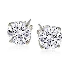 cubic zirconia stud earrings 2cttw sterling silver cubic zirconia stud earrings daily