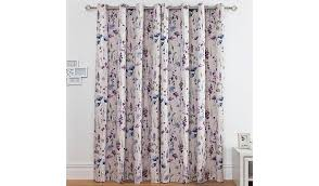 Purple Floral Curtains Meadow Floral Cotton Lined Curtains Home Garden George