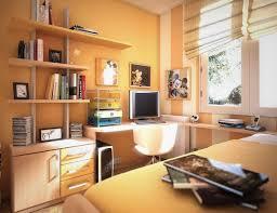 monochromatic study room design for girls wooden shelf and white