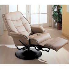 Swivel Recliner Chairs For Living Room Coaster Furniture Faux Leather Swivel Recliner Chair In Bone